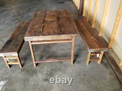 Vintage Farmhouse Table And Bench Set (India Wedding Table Set)