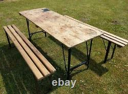 Vintage Rustic Antique Pine British Military Folding Table and Bench Set Army