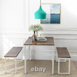 White Brown 3 pc Dining Set Wooden Metal Kitchen Breakfast Table Bench Dinette