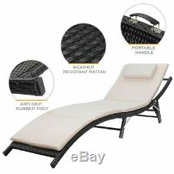 White Raminez Sun Lounger Set with Cushion and Table (Set of 2)