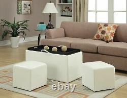 White Storage Bench 2 Side Ottomans Set Faux Leather Seating Tray Coffee Table