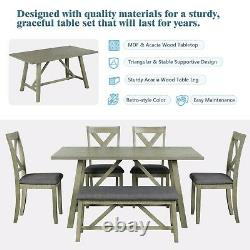 Wood Dining Table Set Table Bench & 4 Chairs Kitchen Home Furniture 6 Piece