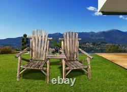 Wood Patio Chair Outdoor Garden Bench Set with Center Coffee Table Double Chair