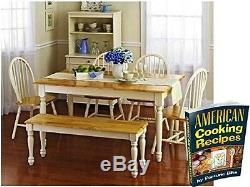 Wooden Dinette Table With 4 Chairs Bench White Kitchen Dining Furniture Set 6pc