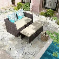 YITAHOME Patio Furniture Set 4 Pcs Outdoor Wicker Sofa Rattan Chair withCushions